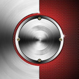 Red and Metal Background with Hexagons and Circles Royalty Free Stock Photo
