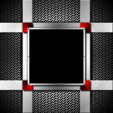 Red and Metal Background with Metal Frame Royalty Free Stock Images