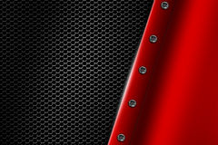 Red metal background with rivet on gray metallic mesh. Royalty Free Stock Image
