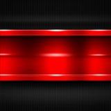 Red metal banner on black carbon fiber. metal background. 3d illustration Royalty Free Stock Images