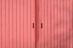 Red metal barn doors Stock Photo