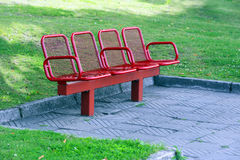 Red metal bench Royalty Free Stock Images