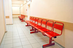 Red metal benches Royalty Free Stock Photo