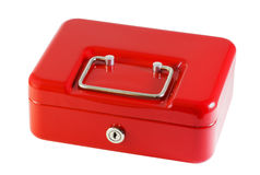 Red metal box for storage of money Royalty Free Stock Images