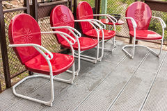 Red metal chairs Stock Photography