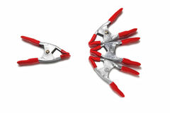 Red metal clips with reinforced mechanism. On white background Stock Images