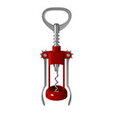 Red metal corkscrew for opening wine bottles, with levers and gears Royalty Free Stock Photo