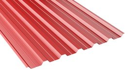 Red metal corrugated roof sheet stack. Royalty Free Stock Photos