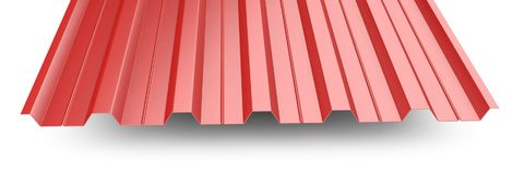 Red metal corrugated roof sheet stack - front view. Stock Photo
