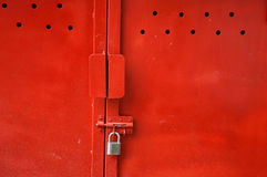Red metal door Royalty Free Stock Photos