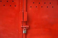 Red metal door Royalty Free Stock Photos