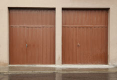 Red metal doors Royalty Free Stock Images
