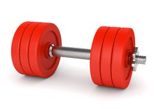 Red metal dumbell Stock Image