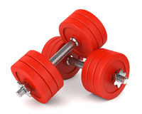 Red metal dumbells Stock Photography