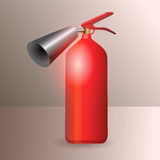 Red metal glossy fire extinguisher - vector Royalty Free Stock Photography