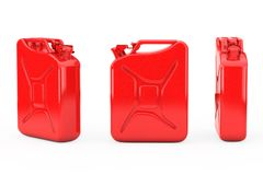 Red Metal Jerrycan with Free Space for Yours Design. 3d Rendering. Red Metal Jerrycan with Free Space for Yours Design on a white background. 3d Rendering stock illustration