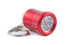 Red metal LED flashlight keychain  Royalty Free Stock Photo