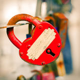 Red Key from heart of love Royalty Free Stock Images