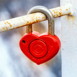 Red metal lock Key from heart of love Royalty Free Stock Photo