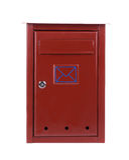 Red metal mailbox. Royalty Free Stock Image