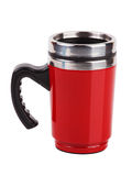 Red metal mug with handle Stock Photo
