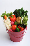 Red Metal Pail of Vegetables. Red metal pail with handle filled with assorted vegetables stock photos