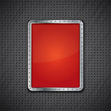 Red metal panel on dark metallic background Stock Photography