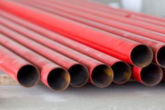 Red metal pipes Royalty Free Stock Image