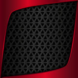 Red metal plate. Black metal background. Metal grid. Geometric pattern with triangles Royalty Free Stock Images
