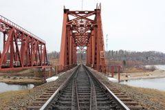 Red metal railway bridge Royalty Free Stock Image