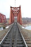 Red metal railway bridge Stock Photo