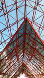 Red metal roof frame Stock Photography