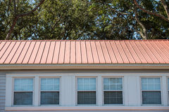 Red Metal Roof on Hotel Stock Image