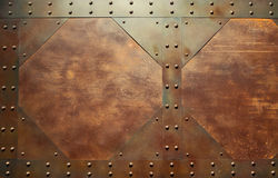 Red metal texture. With rivets Royalty Free Stock Photo