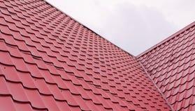 Metal tiles. Red metal tiles wavy texture Royalty Free Stock Photography