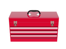 Red metal tool box Stock Images