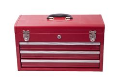 Red metal tool box Stock Image
