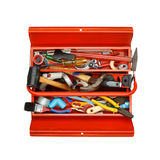Red metal tool box with tools on white background. Stock Images