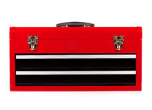 Red metal toolbox Stock Image