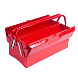 Red metal toolbox isolated on white. Open Red metal toolbox isolated on white Royalty Free Stock Photography