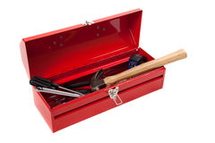 Red metal toolbox with tools royalty free stock image