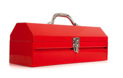 Red metal toolbox on white Stock Photography