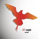 Red metalic bird icon. 3d element for slogan design Stock Photos