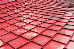Red metalized roof tiles Stock Image