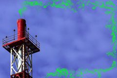 Red metall big pipe on violet color background with green toxic smoke. With copy space royalty free stock image