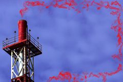 Red metall big pipe on violet color background with red toxic smoke. With copy space royalty free stock images