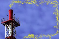 Red metall big pipe on violet color background with yellow toxic smoke. With copy space royalty free stock photography