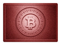 Red Metallic Bitcoin Plate. Red metallic plate with bitcoin logo stamp and clippingpath for white background removal Stock Photos