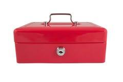 Red metallic box. On a white background Stock Photos