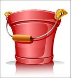 Red metallic bucket. Vector illustration Stock Image